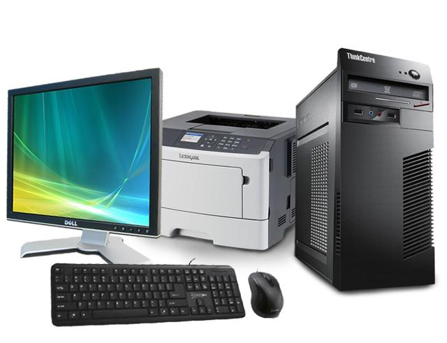 """Εικόνα Lenovo ThinkCentre M72e - Intel Celeron Dual Core G20xx - 4GB RAM - 250GB HDD - Windows 7 Pro + Εκτυπωτής Lexmark MS415dn + Οθόνη 17"""" Dell 1708FPF + Σετ Πληκτρολόγιο-Ποντίκι Element"""