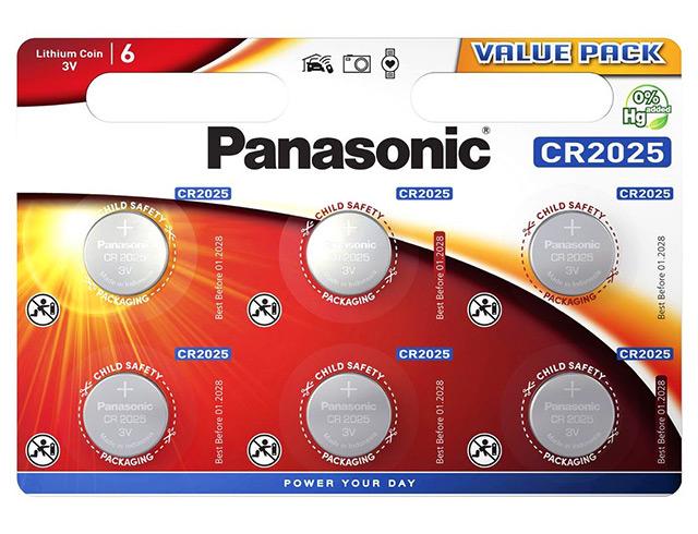 Εικόνα Μπαταρία λιθίου τύπου coin Panasonic CR-2025 (CR2025L/6BP)