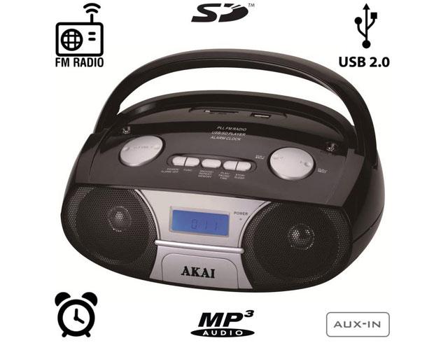 Εικόνα Akai APRC-106 Φορητό HI-FI με Ξυπνητήρι USB για φόρτιση συσκευών, SD και AUX