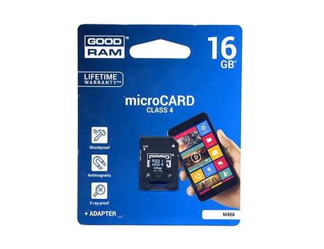 Εικόνα Κάρτα μνήμης Trans Flash 16GB GoodRam + Αντάπτορας SD CLASS 4