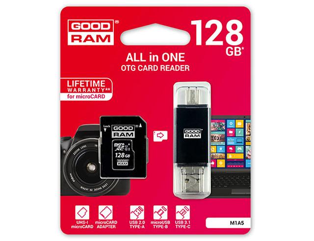 Εικόνα GoodRAM M1A5 microSDXC 128GB U1 with Adapter & Card Reader