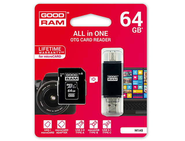 Εικόνα GoodRAM M1A5 microSDXC 64GB U1 with Adapter & Card Reader