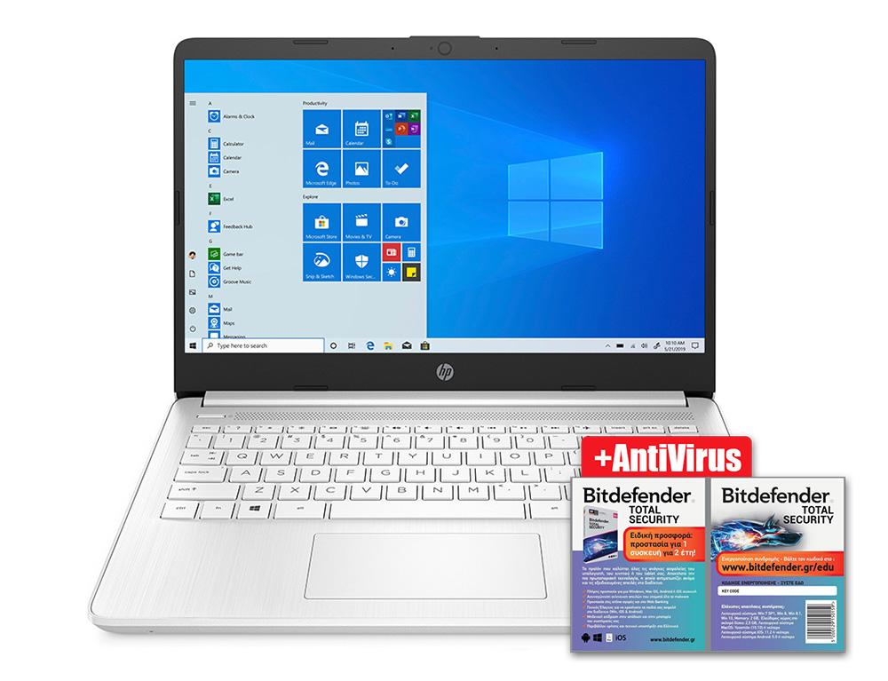 """Εικόνα HP 14s-fq0003nv (1Y0Y4EA) - Οθόνη Full HD 14"""" - AMD 3020e - 4GB RAM - 128GB SSD - Windows 10 Home S + BitDefender Total Security - 1 Device - 2 Years"""