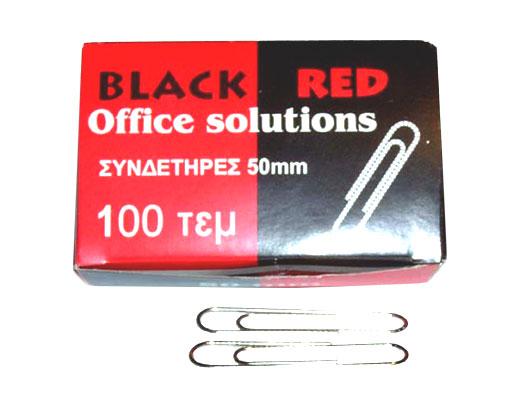 Εικόνα Συνδετήρες 50mm Black-Red κουτάκι 100τεμ νίκελ
