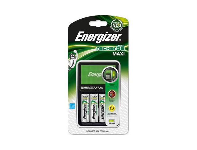 Εικόνα Φορτιστής μπαταριών AA/AAA Energizer ΜΑΧΙ με 4 επαναφορτιζόμενες μπαταρίες ΑΑ 2000mAh (370195)