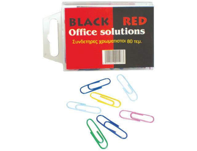 Εικόνα Mεταλλικοί συνδετήρες Black-Red με πλαστικό χρωματιστό περίβλημα