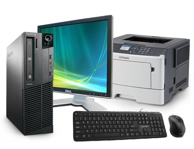 """Εικόνα Lenovo ThinkCentre M91P SFF - Intel Core i5 2ης Γενιάς 24xx - 4GB RAM - 250GB HDD - Windows 7 Professional + Οθόνη 17"""" Dell 1708FPF + Laser Εκτυπωτής Lexmark MS415dn + Σετ Πληκτρολόγιο-Ποντίκι Element"""
