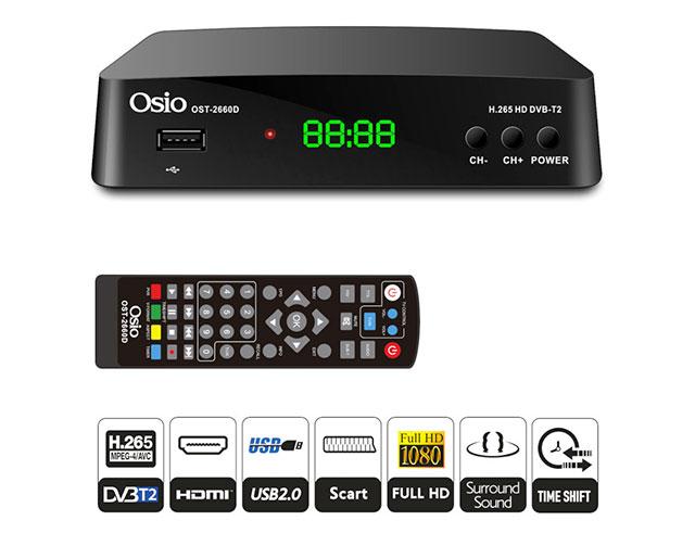 Εικόνα Ψηφιακός Δέκτης Full HD Osio OST-2660D DVB-T/T2 H.265 Mpeg-4 Mε USB Και Χειριστήριο Για TV Και Δέκτη