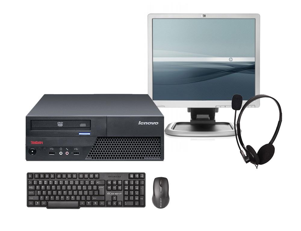 """Εικόνα PC Set Lenovo ThinkCentre M58P SFF - Intel Core 2 Duo E7500 - 4GB RAM - 500GB HDD - DVD - Windows 7 Professional + Monitor 19"""" HP LA1951G + Σετ Πληκτρολόγιο και Ποντίκι Combo Element + Headset"""