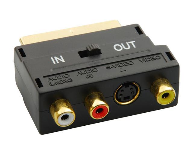 Εικόνα Powertech Μετατροπέας Scart 21pin σε 3 RCA/S-Video με διακόπτη - Gold