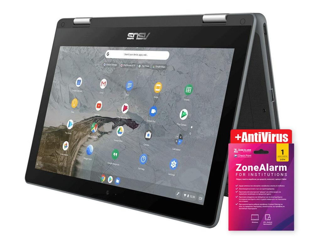 """Εικόνα ASUS Chromebook C214MA-BU0475 Oθόνη αφής HD 11.6"""" - Intel Celeron N4020 - 4GB RAM - 64GB eMMC - Chrome OS - Grey + Antivirus CheckPoint ZoneAlarm for Institutions - 1 Device - 2 Years"""