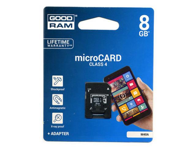 Εικόνα Κάρτα μνήμης TRANS Flash GoodRam 8GB + Αντάπτορας SD CLASS 4