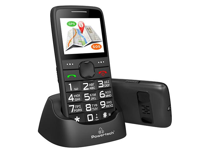 Εικόνα Κινητό απλής χρήσης Powertech Sentry GPS, SOS Call, Dual Sim, με φακό - Black