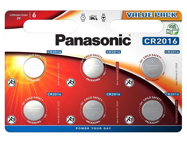 Εικόνα Μπαταρία λιθίου τύπου coin Panasonic CR-2016 (CR2016L/6BP)