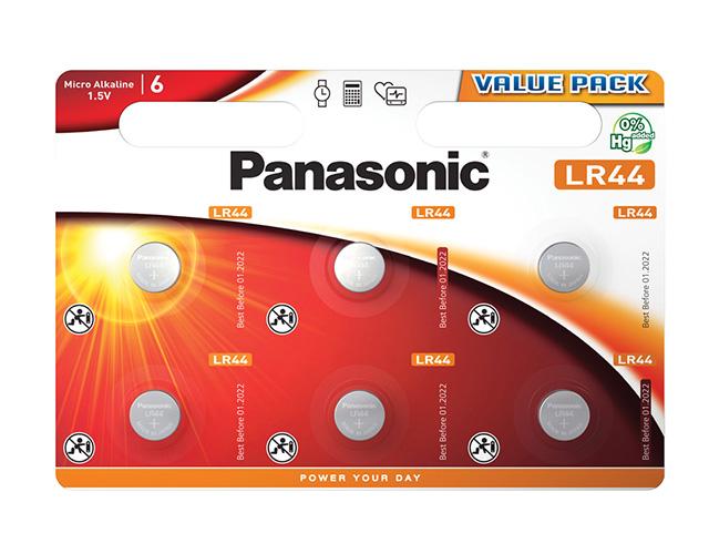 Εικόνα Μικροαλκαλική μπαταρία κουμπί LR44 Panasonic LR44L/6BP