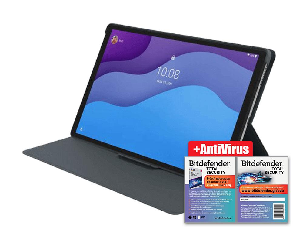 """Εικόνα Tablet 10.1"""" Lenovo Tab M10 HD 2nd Gen 4G-LTE (64GB) - Iron Grey (Περιλαμβάνει θήκη Lenovo Folio Case και μεμβράνη προστασίας) + BitDefender Total Security - 1 Device - 2 Years"""