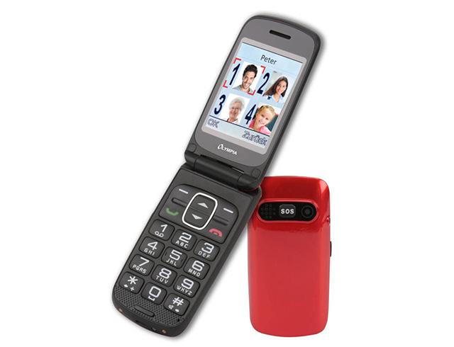 Εικόνα Κινητό απλής χρήσης τηλέφωνο για ηλικιωμένους Olympia Primus GR Dual SIM με κουμπί SOS και κάμερα - Red