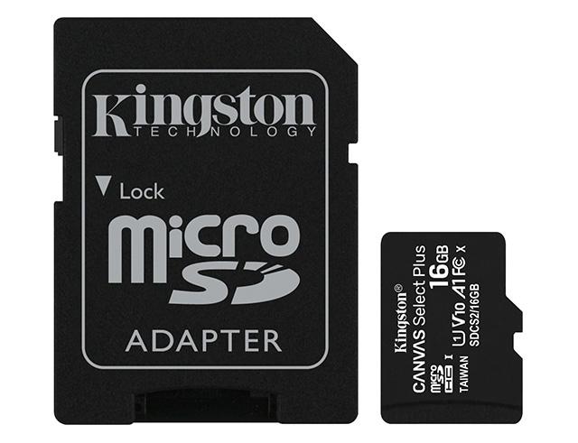 Εικόνα Κάρτα Μνήμης Micro SD Kingston Canvas Select Plus 16GB με αντάπτορα (SDCS2/16GB)