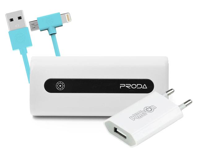 Εικόνα Travel Power Bundle (Charger Power on CH-10W V2.0 + Power bank Proda E5 5000mAh + Charging Cable WK 2in1 I6/Micro Blue 1m AXE)