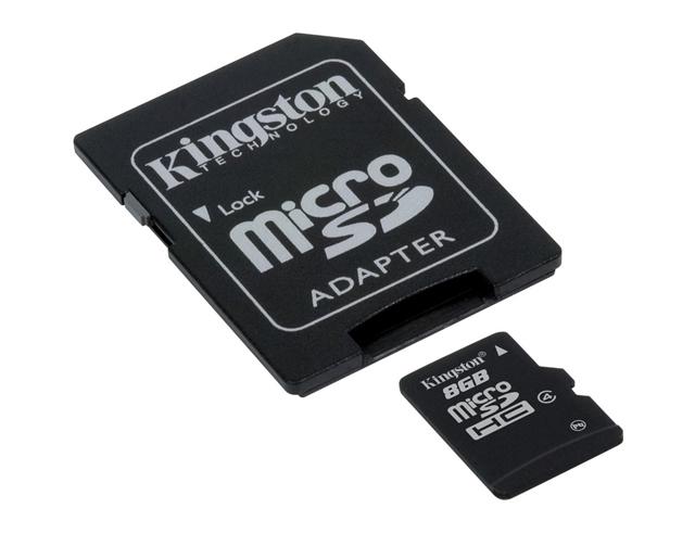 Εικόνα Κάρτα Μνήμης Kingston Micro SDHC 8GB Class 4 + Adapter