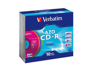 Εικόνα CD-R VERBATIM COL.SLIM SA700MB 52X 10T