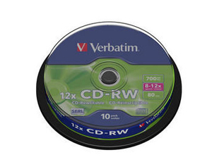 Εικόνα VERBATIM CD-RW 8-12X SPINDLE 700MB 10T