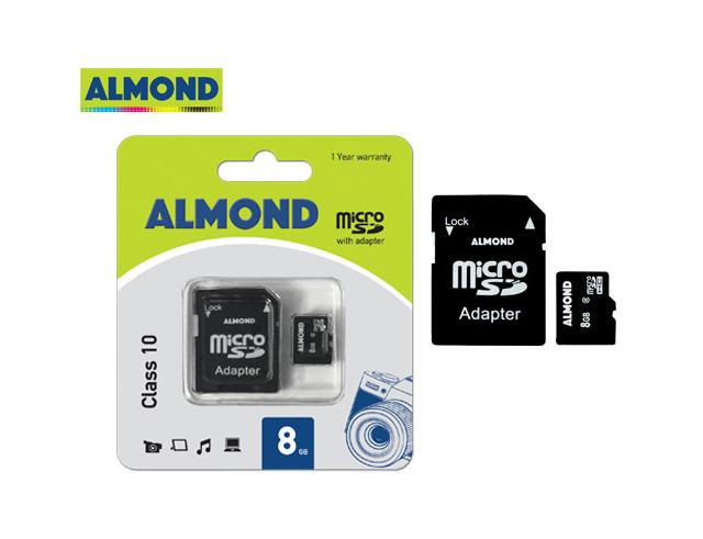 Εικόνα Almond μνήμη micro SDHC με αντάπτορα MSD 8GB