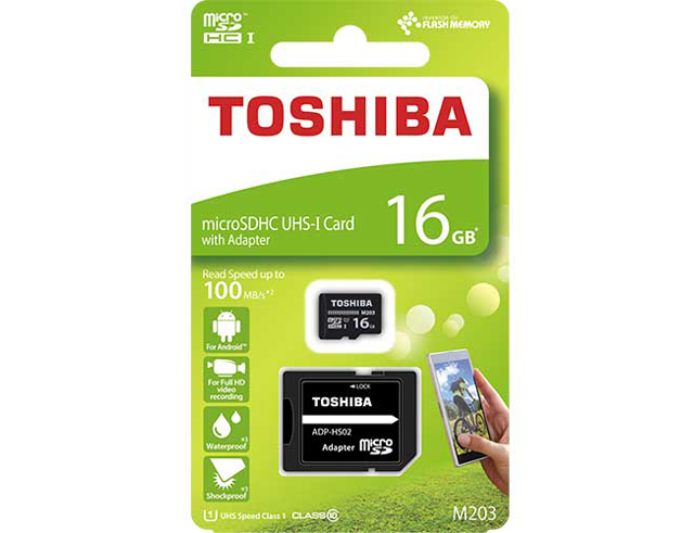 Εικόνα Micro SD Toshiba M203 16GB Class10 U1 με αντάπτορα SD