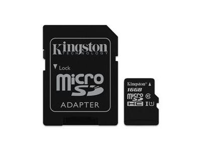 Εικόνα microSDHC Kingston Canvas Select 16GB UHS-I CL10 80Read + SD Adapter