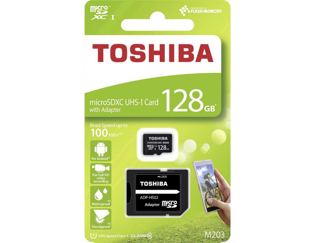 Εικόνα Micro SD Toshiba M203 128GB Class10 U1 με αντάπτορα SD