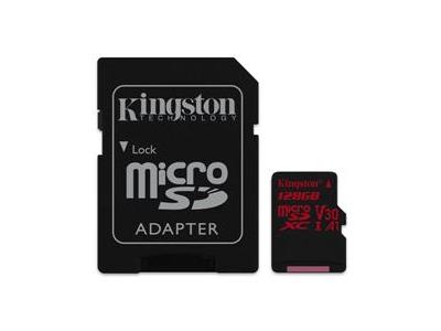 Εικόνα MicroSDXC 128GB Canvas React 100R/70W U3 UHS-I V30 A1 Card + SD Adapter