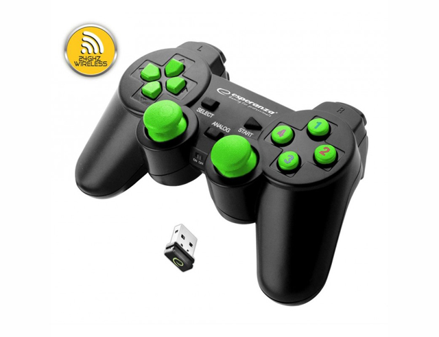Εικόνα Gamepad Esperanza Wireless Gladiator EGG108G black/green για PC / PS3