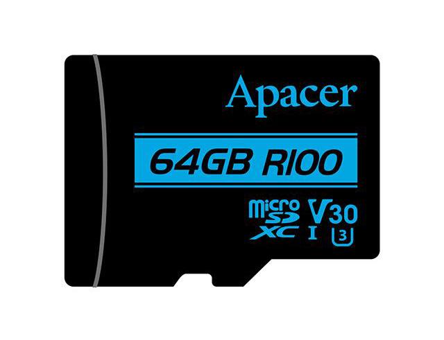 Εικόνα Κάρτα Μνήμης Micro SDXC Apacer V30 R100, UHS-I U3 Class10 64GB